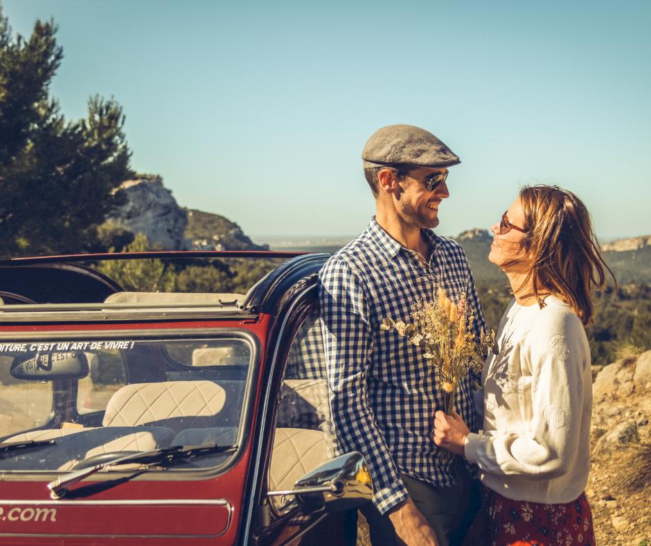 Week-end en amoureux en voiture vintage