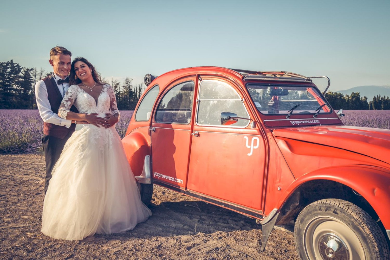 Mariage en deux chevaux en Provence
