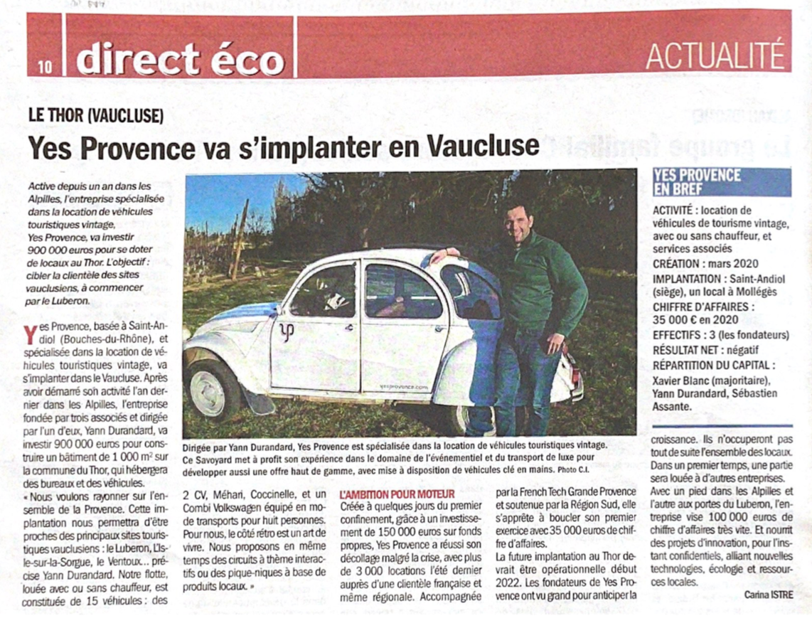 Vaucluse Matin - Article Yes Provence