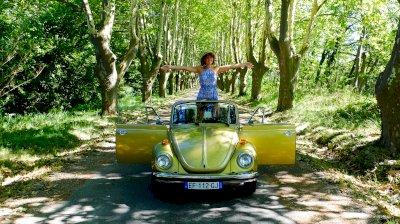Gold Volkswagen convertible Beetle